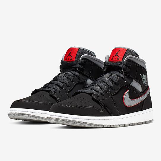 Air Jordan 1 Mid Black Grey Red